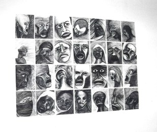 DAILY / Installation / ballpoint pen drawings / 2003