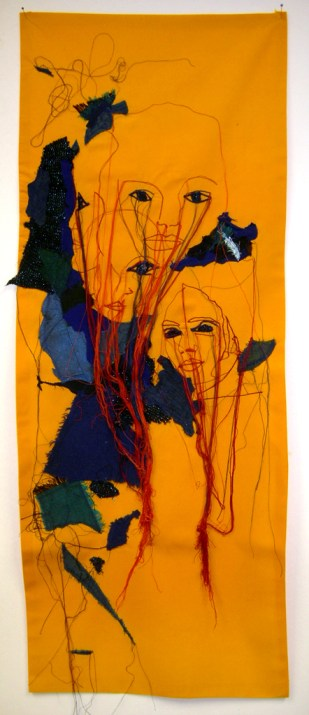 WHERE ARE OUR HEROES (Arundhaty Roy I) / embroidery on fabric / 34x88 cm / 2012 / Private Collection
