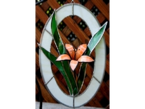 3-D Lily Stained glass panel