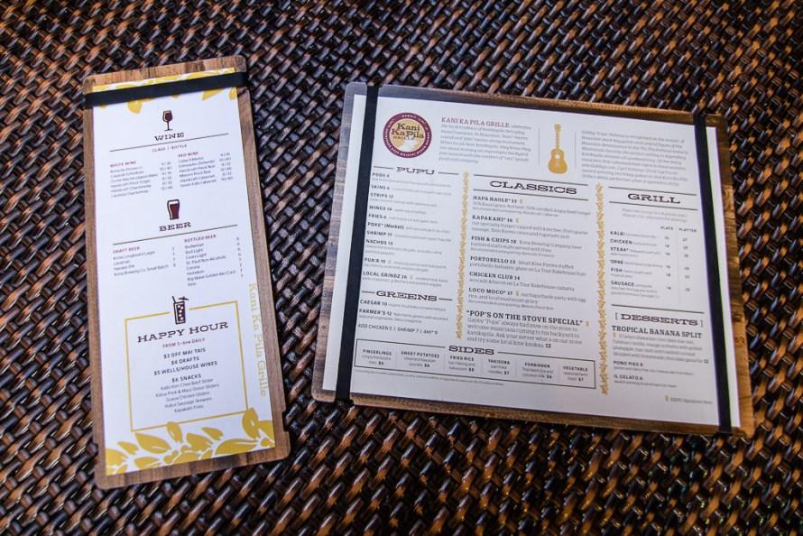 Kani Ka Pila Grille menu Outrigger Reef Waikiki