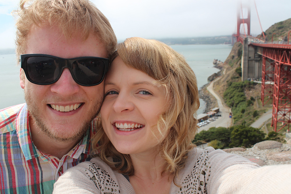 Rob and Ash in front of the Golden Gate Bridge, San Francisco