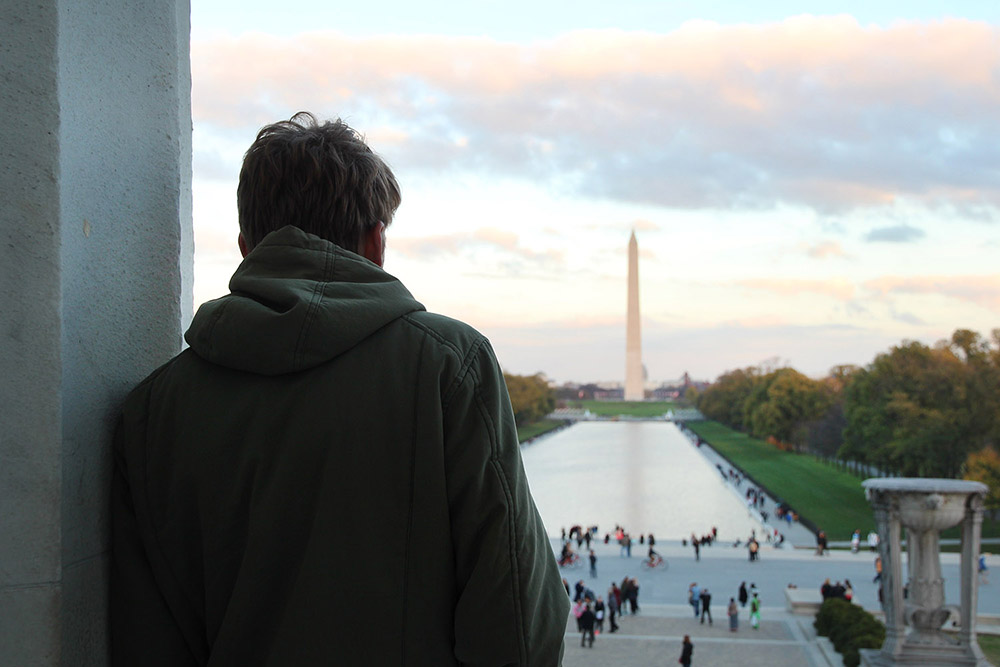 The Washington Monument from the Lincoln Memorial