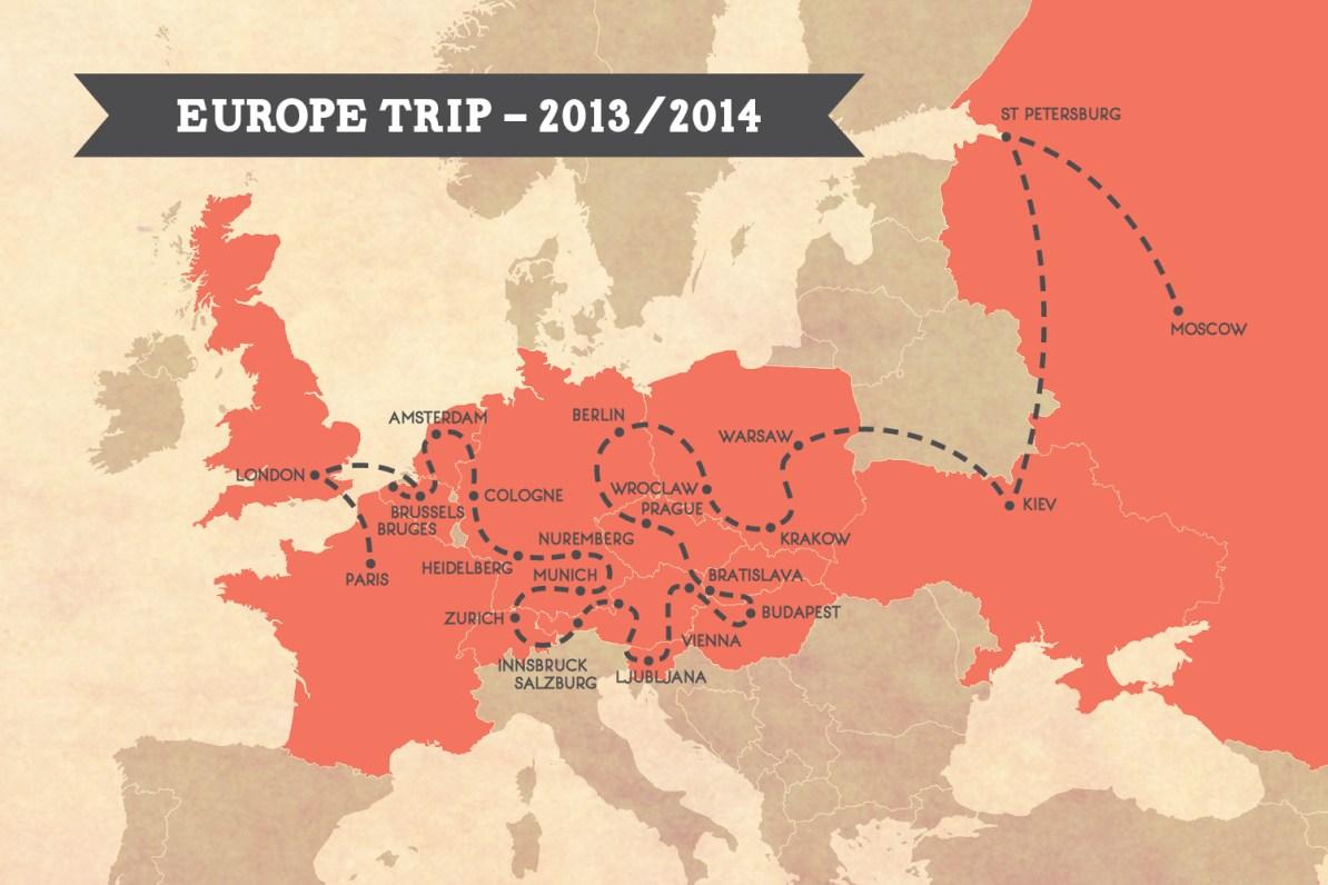 2013 Europe Trip Map