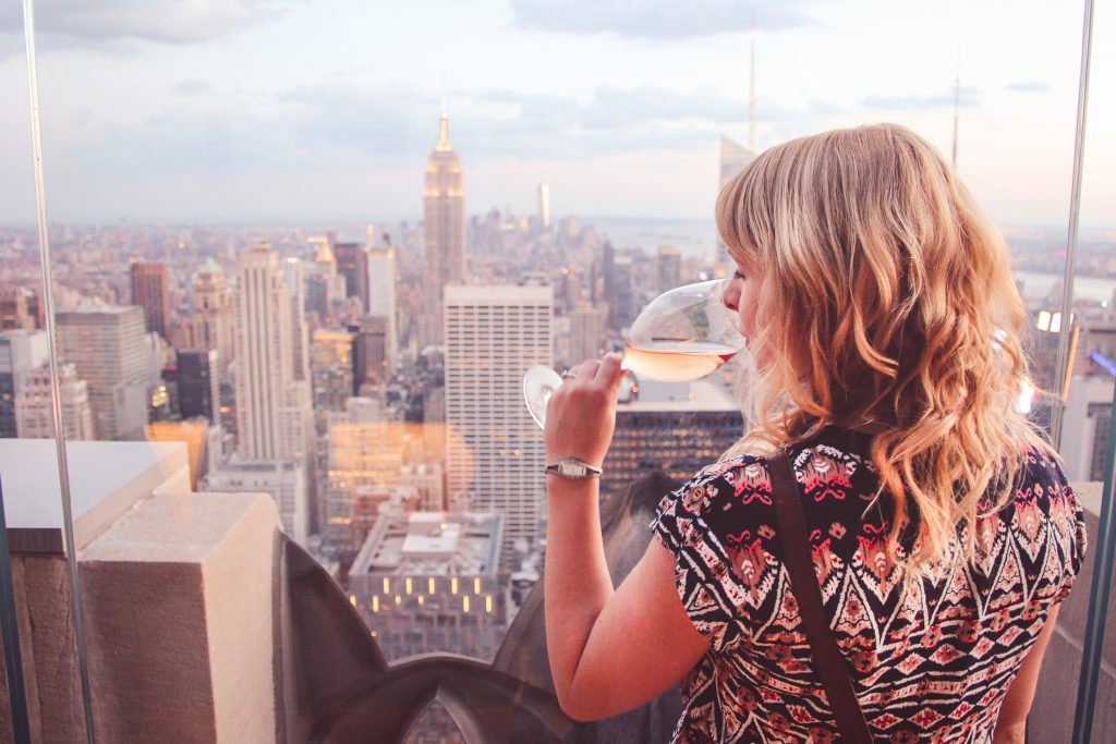 Drinking wine in Manhattan, New York City, 2015