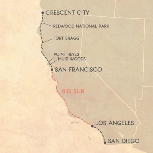 California coast road trip itinerary map