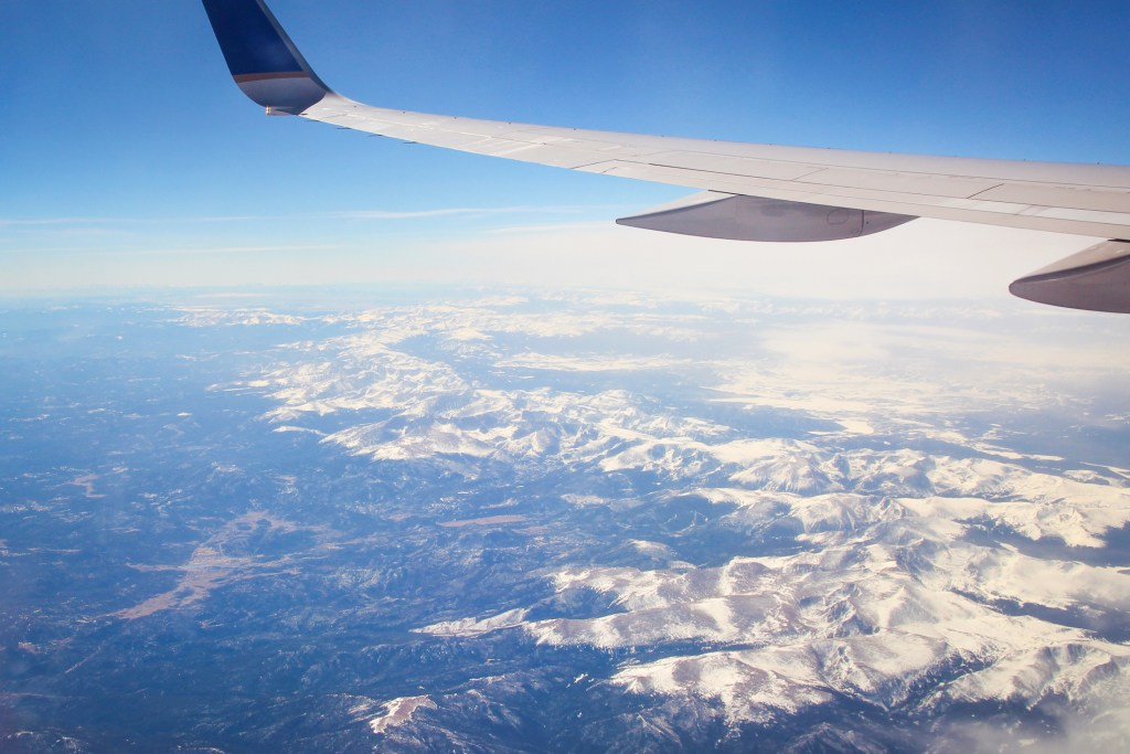 Flying over the Rocky Mountains in Colorado