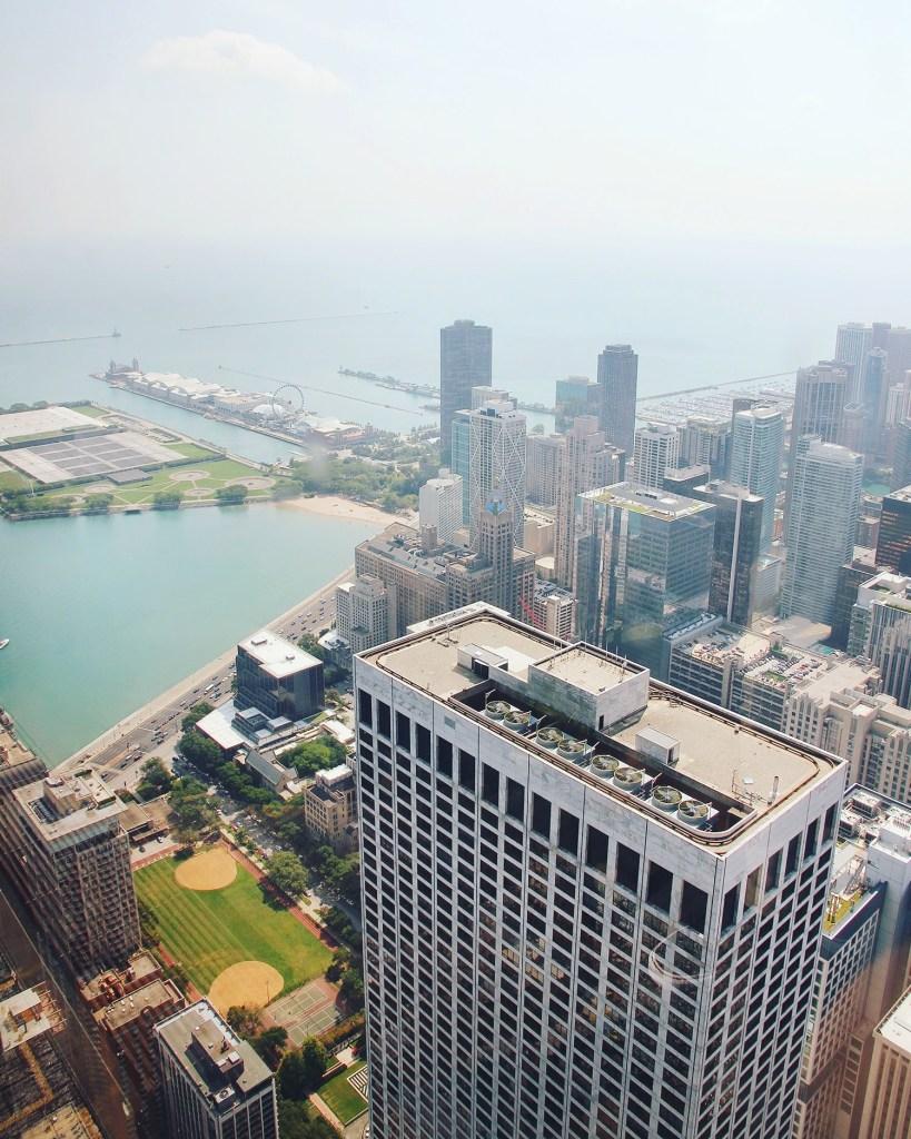 Views of Lake Michigan from Hancock Tower, Chicago