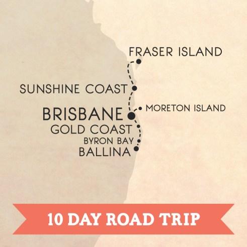 Australia's east coast road trip map