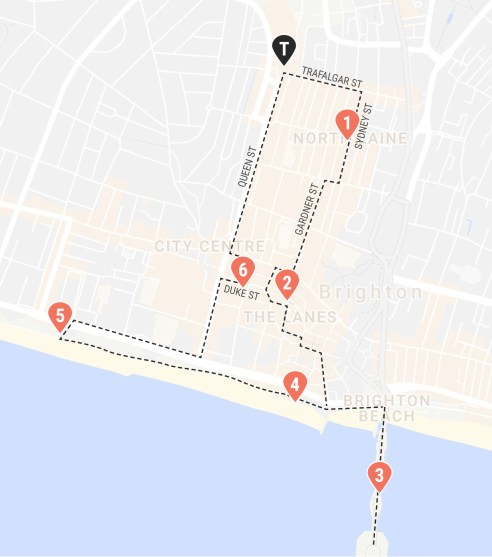 A self-guided walking tour around Brighton, UK