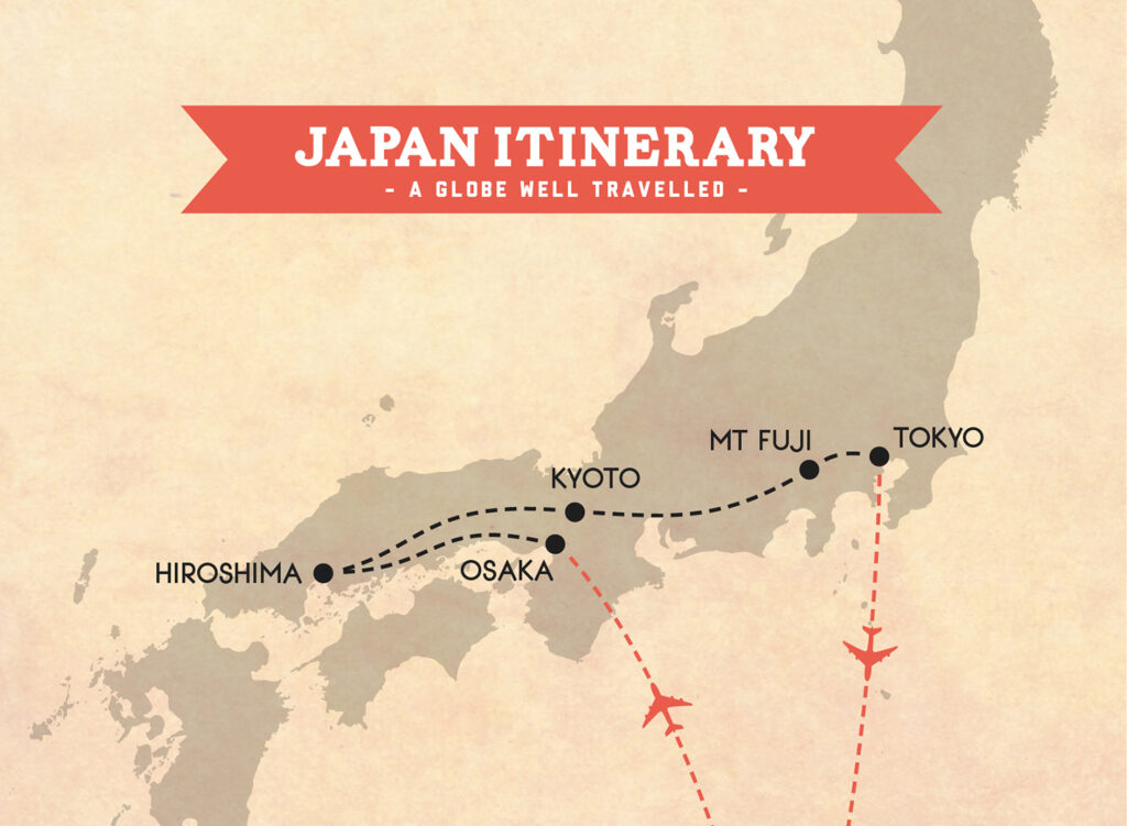 Japan itinerary trip map