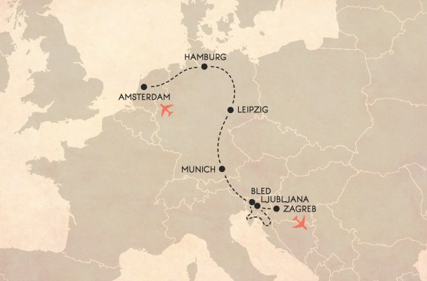Map of Europe - itinerary for a winter Eurotrip