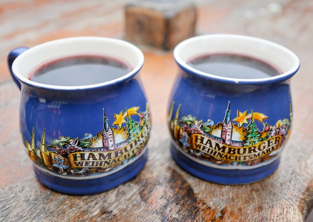 Decorative drinking cups from Hamburg at Germany's Christmas Markets