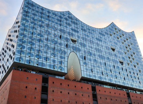 The glass front of Elbphilharmonie concert hall in Hamburg
