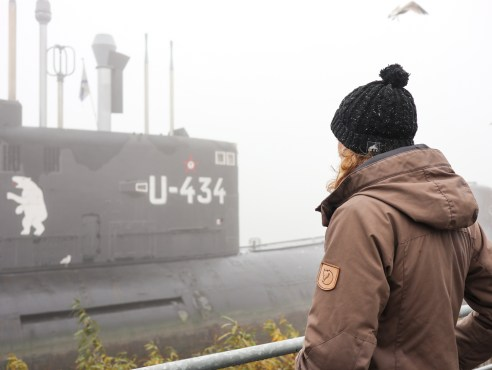 The U-boat Museum on a foggy morning in Hamburg