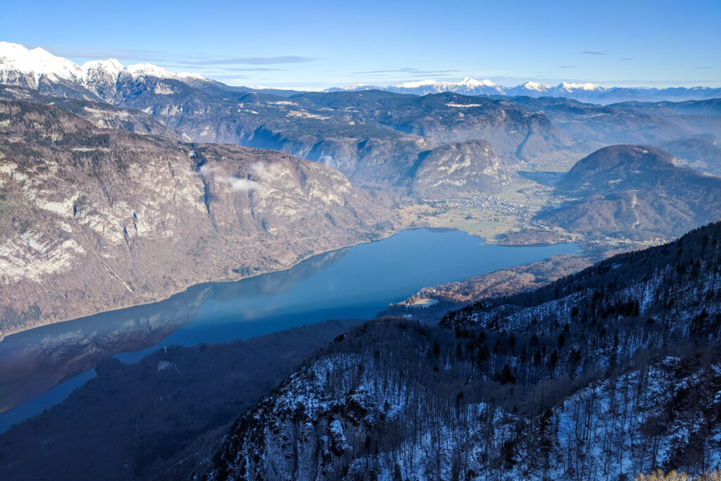 Views of Lake Bohinj from Vogel ski resort in Slovenia
