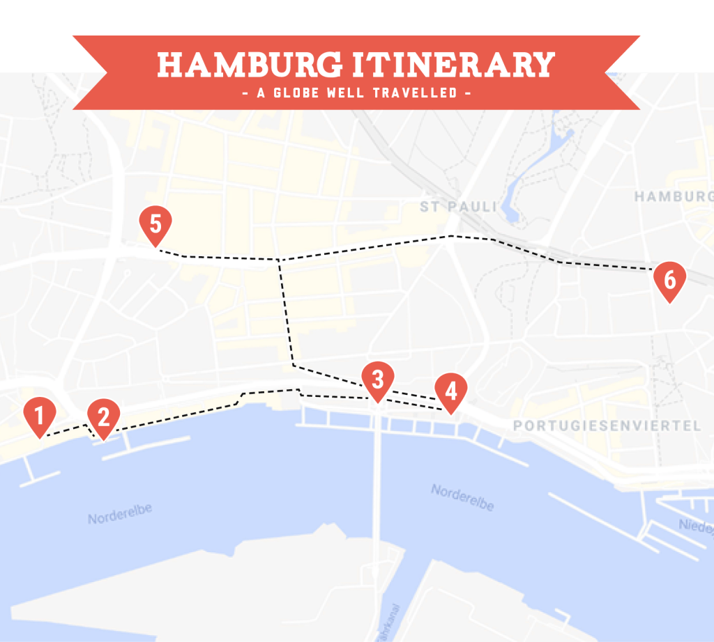 Day two Hamburg itinerary map