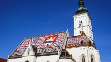 Colourful tiling on the roof of St. Mark's Church in Zagreb, Croatia