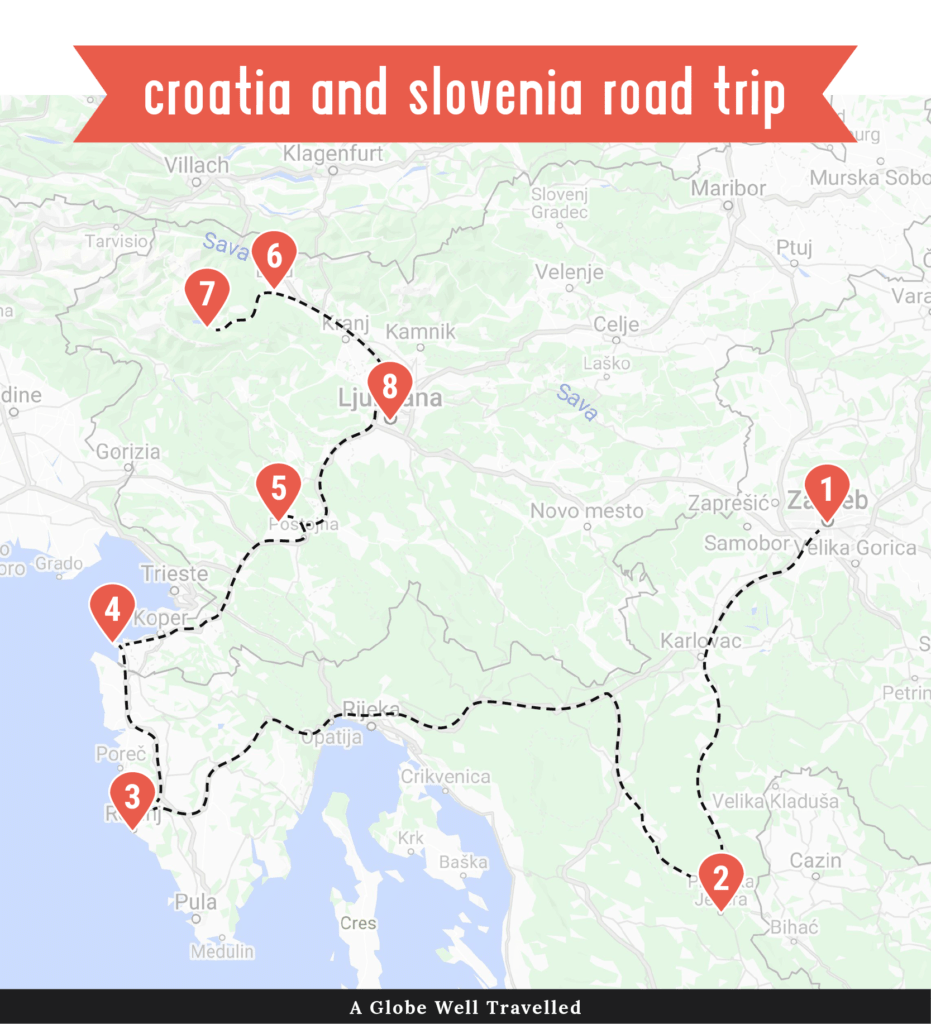 Croatia + Slovenia road trip itinerary map