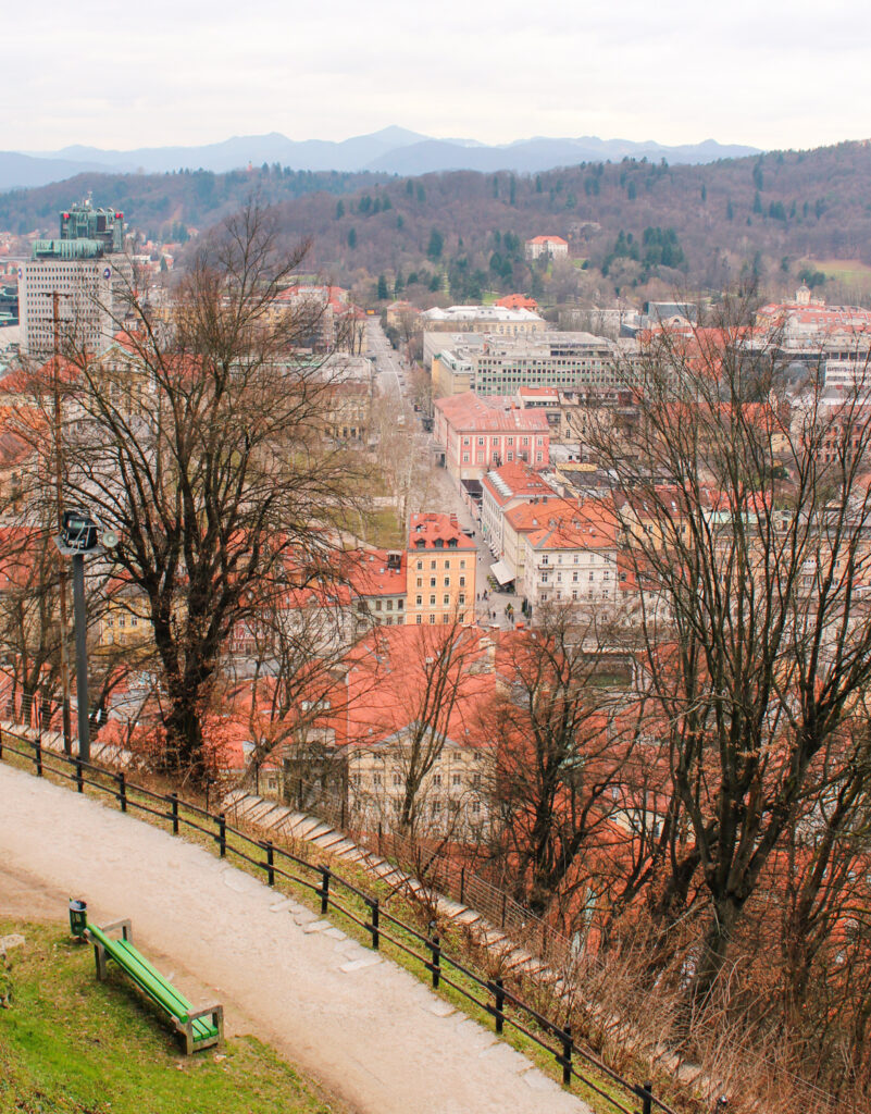Views over the city from Ljubljana Castle in Slovenia