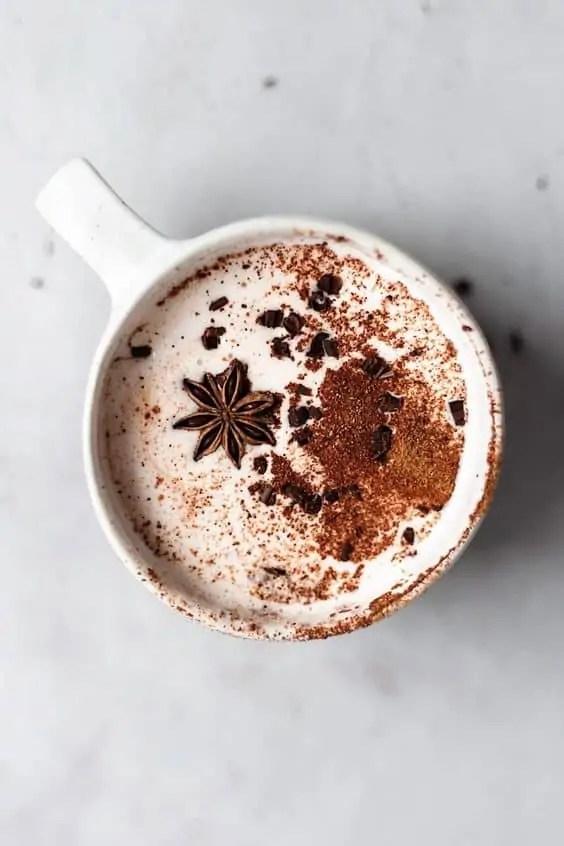 Chai spiced warm vegan hot chocolate.