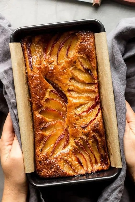 Vegan spiced plum loaf.