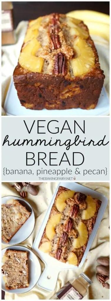 Vegan banana, pineapple, and pecan fruit loaf.