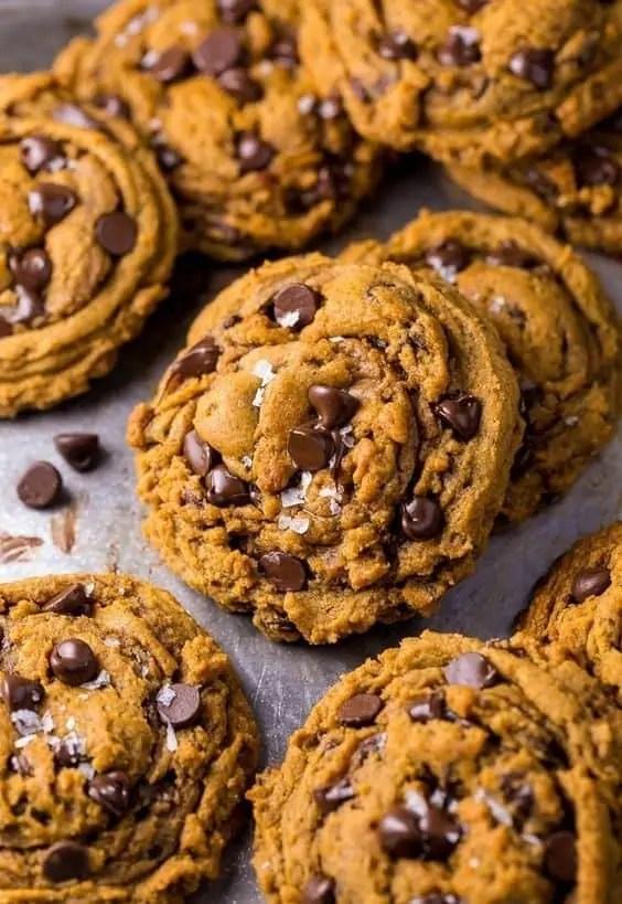 Delicious vegan pumpkin chocolate chip cookies.