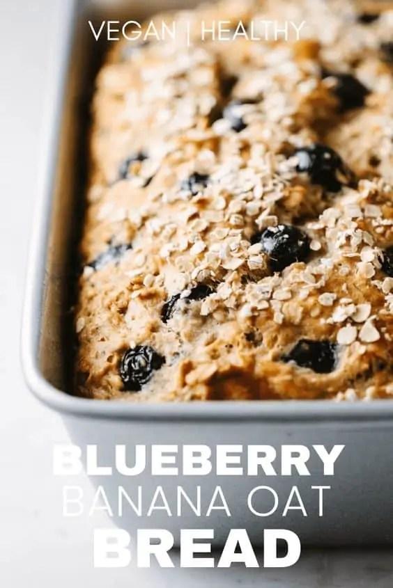 Vegan blueberry and banana oat bread.