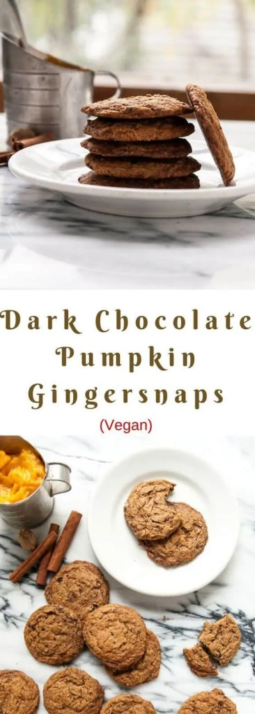 Vegan fall dark chocolate pumpkin gingersnaps