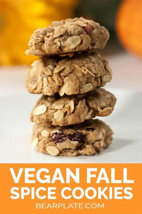 Vegan autumn spice oatmeal cookies
