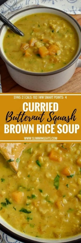 Vegan curried butternut squash and brown rice soup
