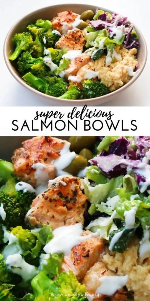 Healthy Mediterranean salmon bowl