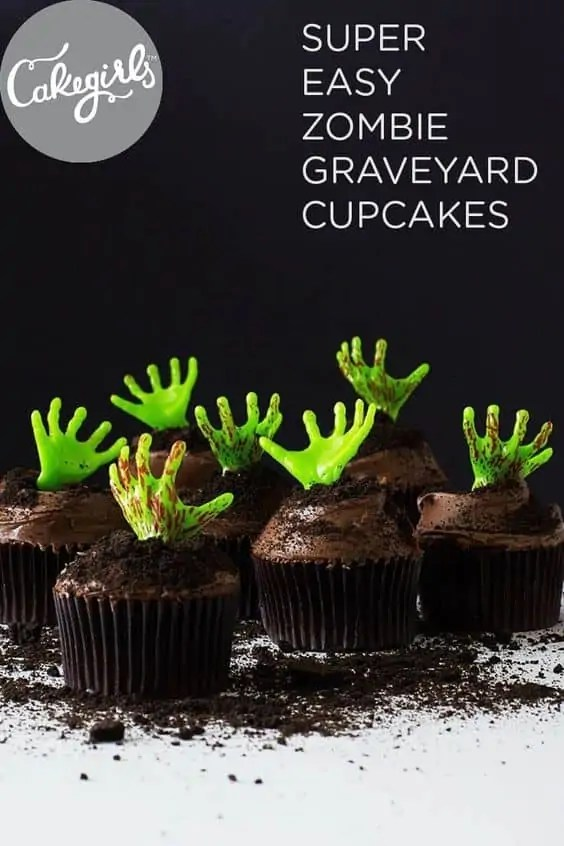Super Easy Zombie Graveyard Cupcakes