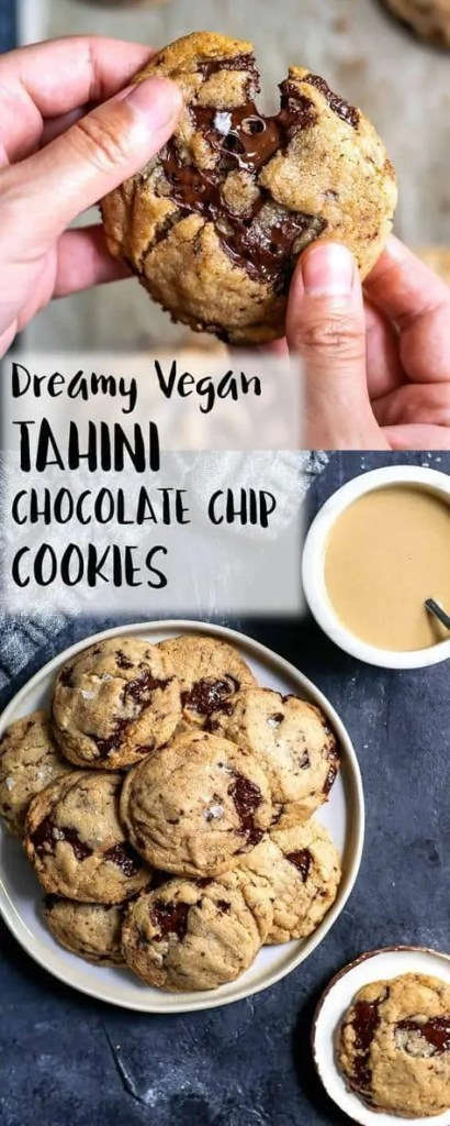 Chewy Vegan Tahini Chocolate Chip Cookies