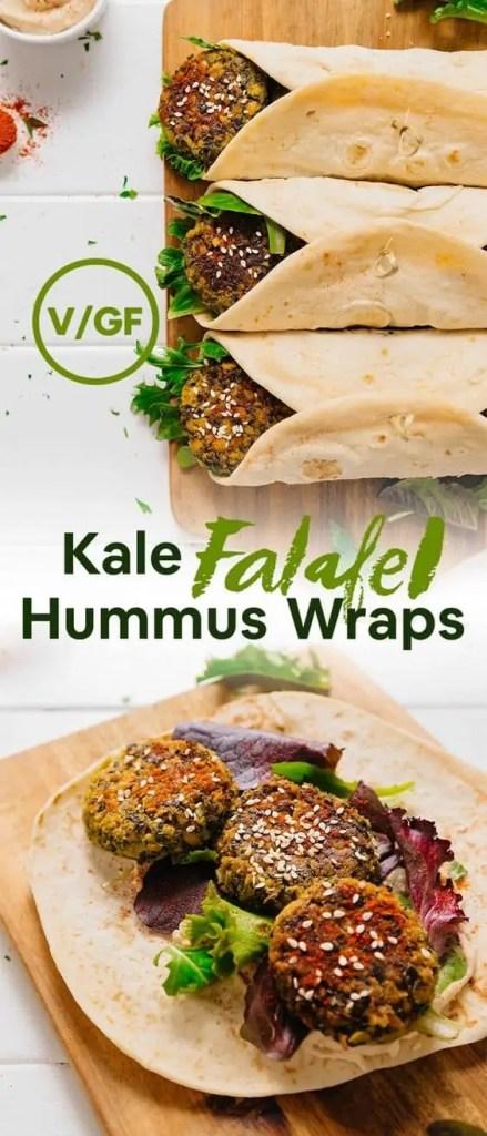 Kale Falafel Hummus Wraps