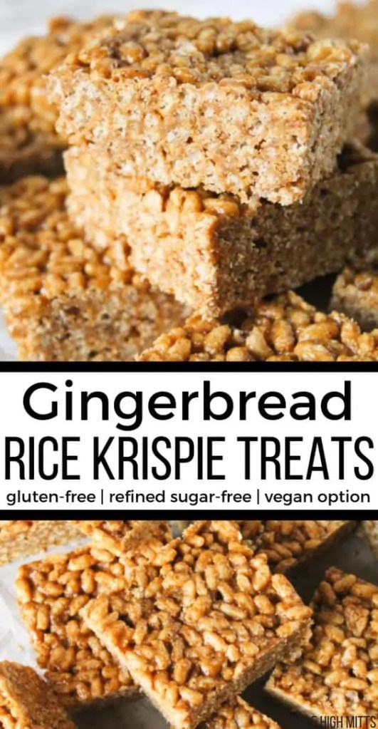 Vegan Gingerbread Rice Krispie Treats