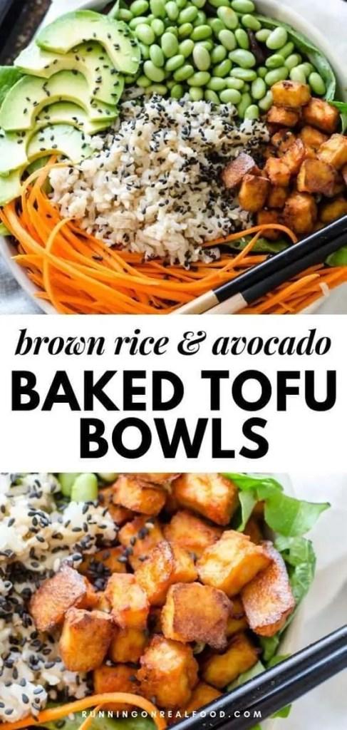 Sriracha Baked Tofu Brown Rice Bowls