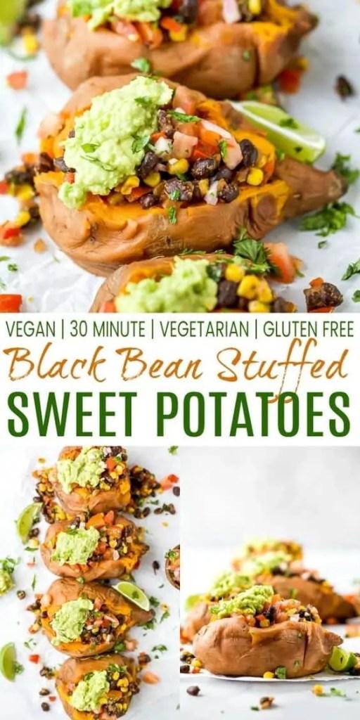 Easy Vegan Black Bean Stuffed Sweet Potatoes