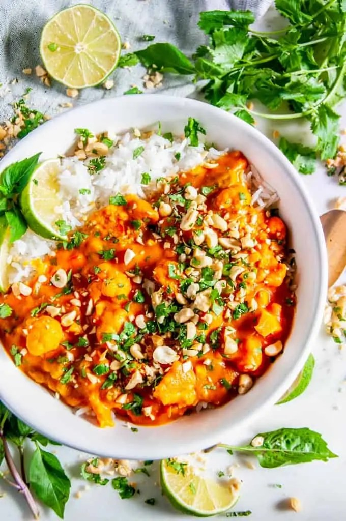 Cauliflower Sweet Potato Coconut Curry