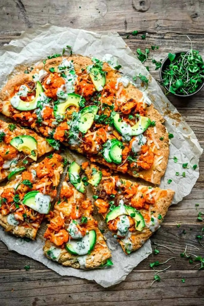 Buffalo Cauliflower Pizza with Avocado