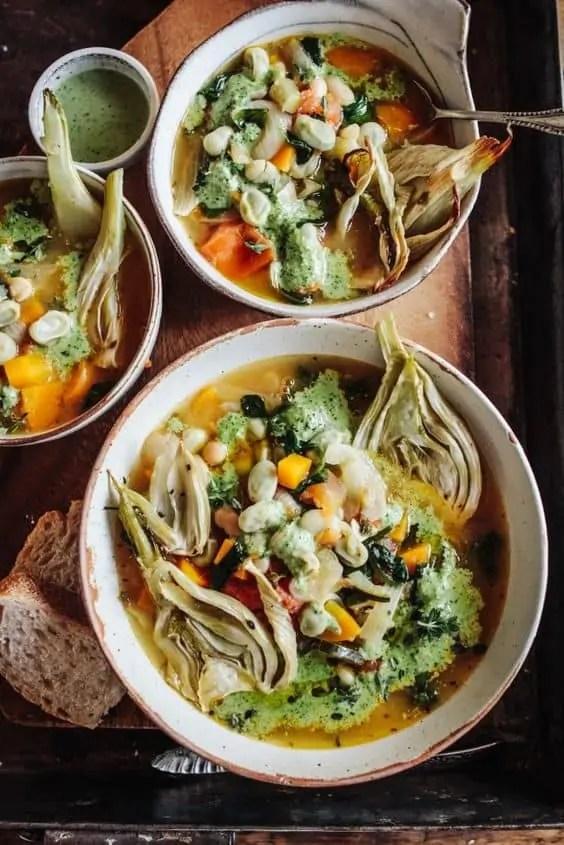 Spring Veg Stew with Pesto & Roast Fennel