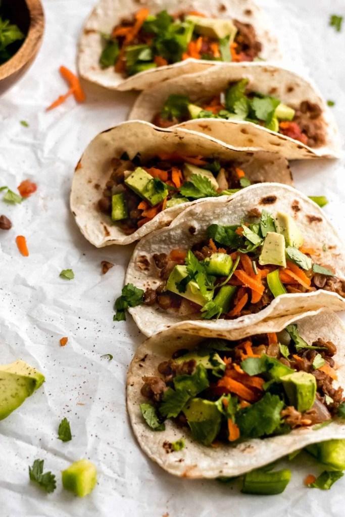 healthy vegan lentil tacos