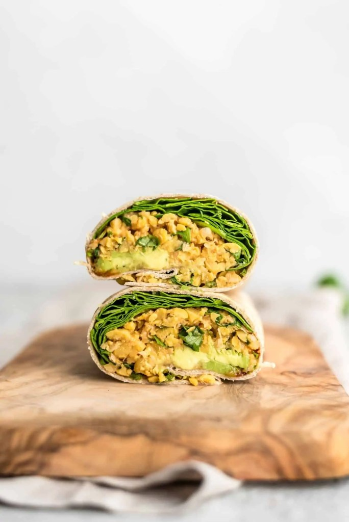 Spicy Chickpea Wraps with Avocado and Spinach