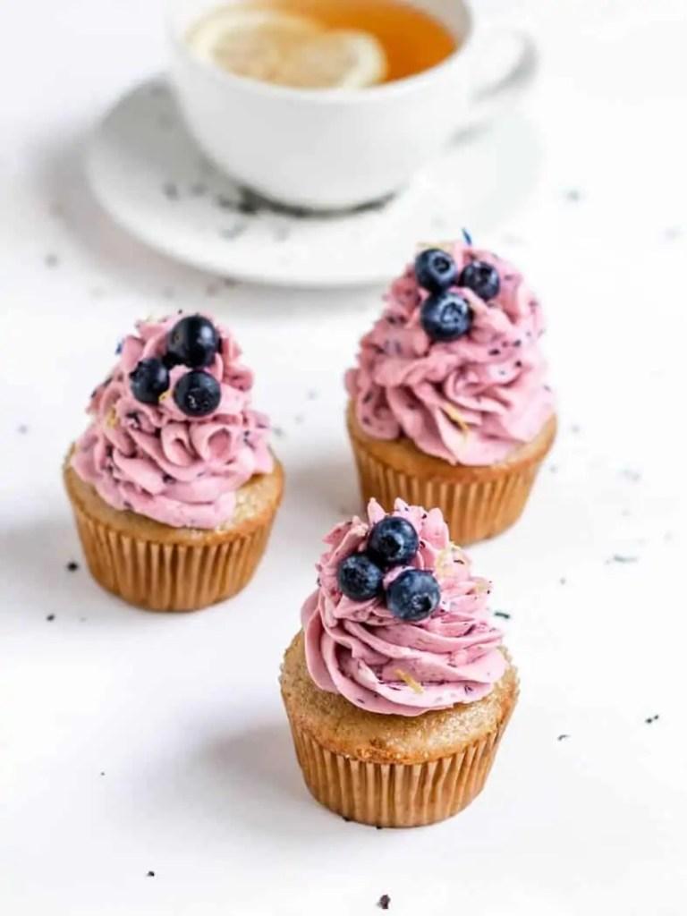 Vegan Earl Grey Cupcakes with Vegan Blueberry Frosting