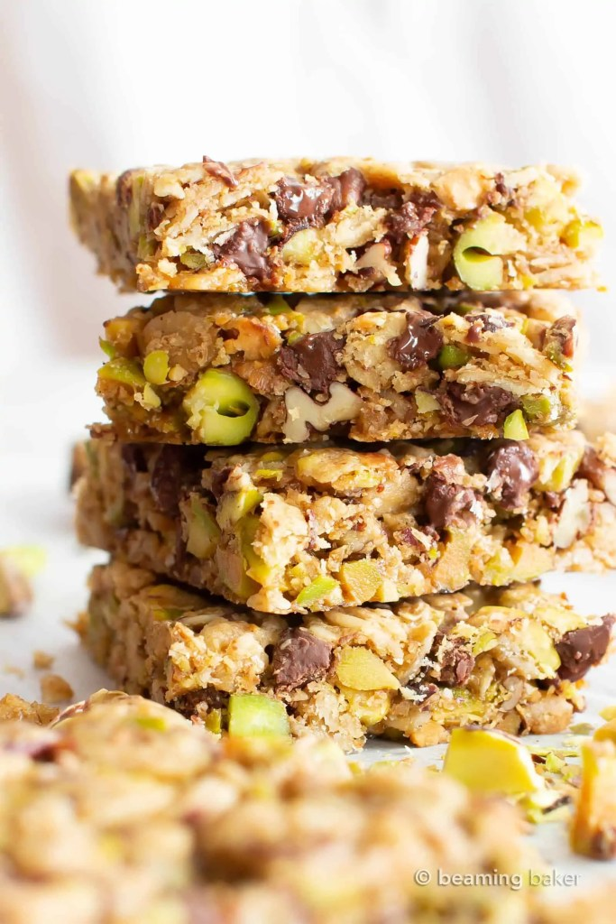 Chocolate Pistachio Healthy Vegan Snack Bars
