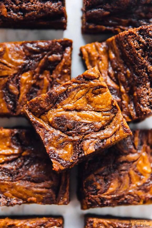 Vegan Pumpkin Cheesecake Swirl Brownies