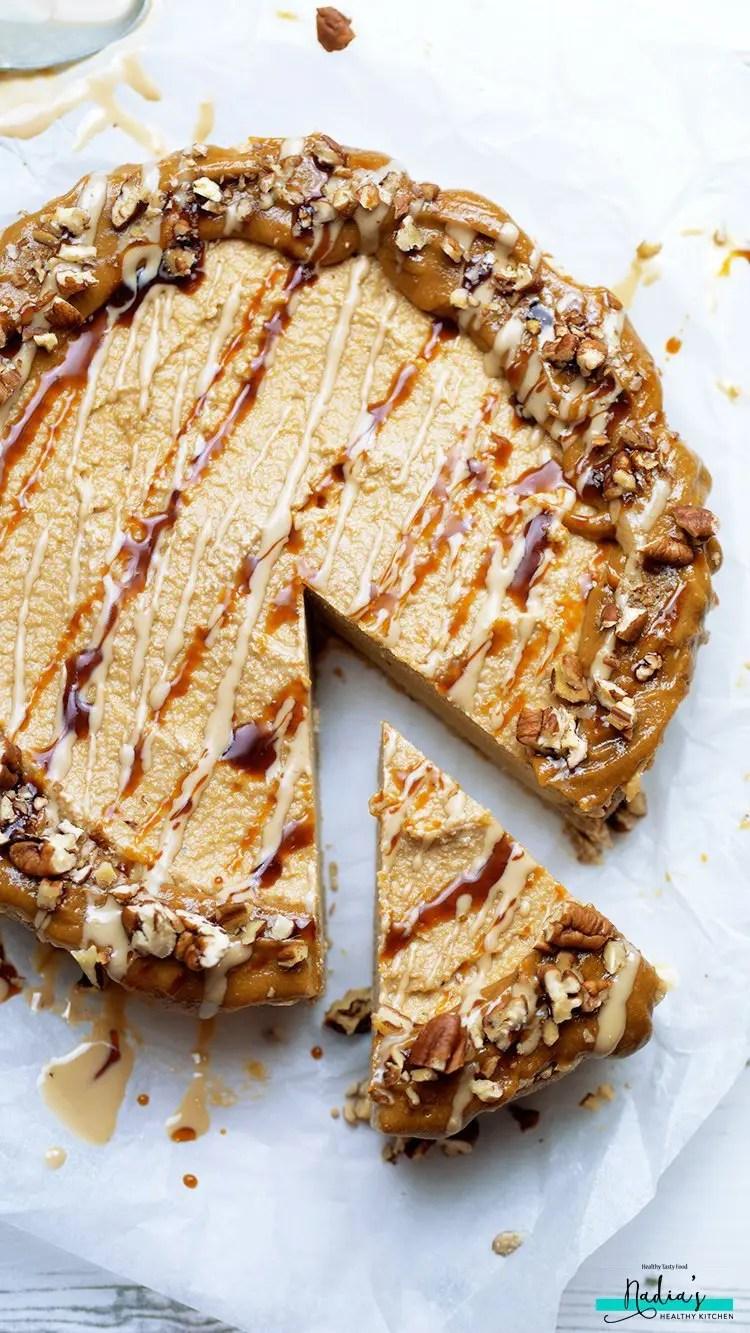 Salted Caramel Tahini Cheesecake