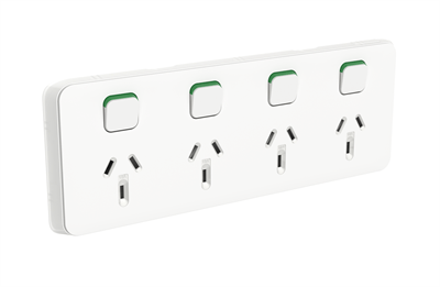 Clipsal Iconic 4 Gang QUAD Power Point 10A Horizontal
