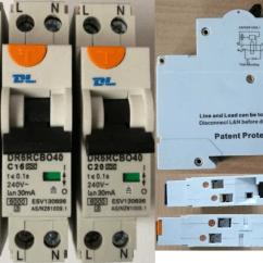 Rcbo Wiring Diagram Krone Patch Panel Dl7nl 40 6ka 20 Amp Single Pole Safety Switch Rcdmcb