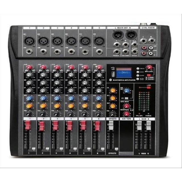 SINEXTESIS CT-60S Mixer 6 canali (reali) MP3 USB Bluetooth con Effetto Echo Disponibile